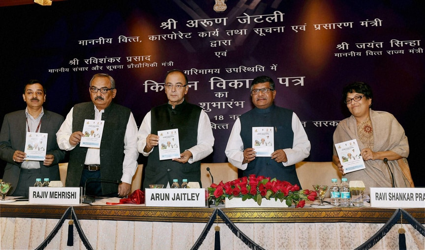 Union Finance Minsiter, Arun Jaitley, Union Communications & Information Technology Minister, Ravi Shankar Prasad, launch, Kisan Vikas Patra, (KVP), New Delh