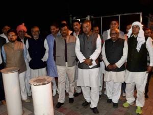 A delegation of the Western UP and Delhi-NCR Jat community's leaders coming out after meeting with  Home Minister Rajnath Singh