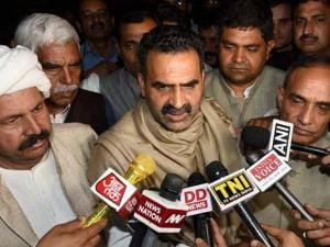 Union minister Sanjeev Baliyan, BJP MP Satyapal Singh ,BKU President Naresh Tikait  talks to media after delegation of the Western UP and Delhi-NCR Jat community's leaders meeting with  Home Minis