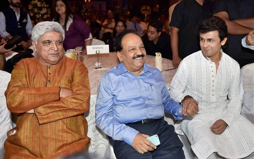 Union Health Minister, Harsh Vardhan, lyricist, Javed Akhtar, singer, Sonu Nigam, launch, public, service, message, form,  music video, Phool Khil Jayenge,  New Delhi