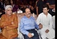 Union Health Minister Harsh Vardhan, lyricist Javed Akhtar and singer Sonu Nigam at the launch of a public service message
