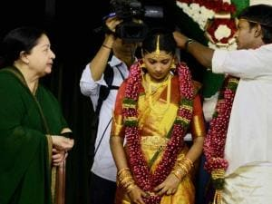 J Jayalalithaa at a mass marriage of party functionaries including that_of Ministers' children in Chennai