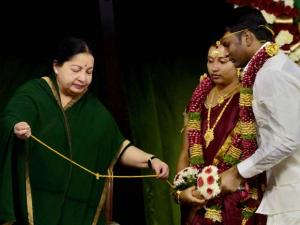 J Jayalalithaa at a mass marriage of party_functionaries including that of Ministers' children in Chennai