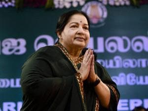 AIADMK supremo J Jayalalithaa after taking her oath as Tamil Nadu Chief Minister at Madras University Centenary Auditorium in Chennai