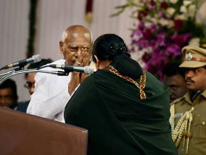 Tamil Nadu Governor K Rosaiah after administering the oath of secrecy to Chief Minister J Jayalalithaa at the swearing in ceremony in Chennai
