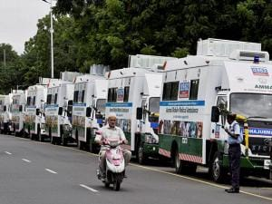 Animal Mobile Medical Ambulance wich was flagged off by Tamil Nadu Chief Minister J Jayalalithaa