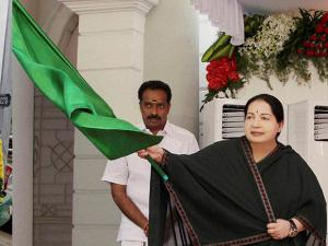 Jayalalithaa flagging off Animal Mobile Medical Ambulances