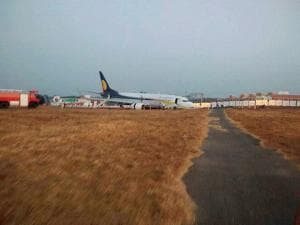 Jet Airways flight 9W 2374 with 154 guests and  7 crew members veered off the runway while aligning to takeoff in Dabolim