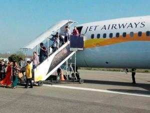 The Jet Airways flight_that was evacuated after a hoax bomb call in Dehradun
