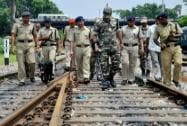 Security forces conduct search operation at Guwahati Railway Station