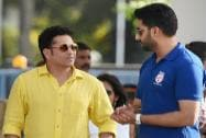 Sachin Tendulkar along with Abhishek Bachchan