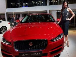 Katrina Kaif poses with a Jaguar Land Rover
