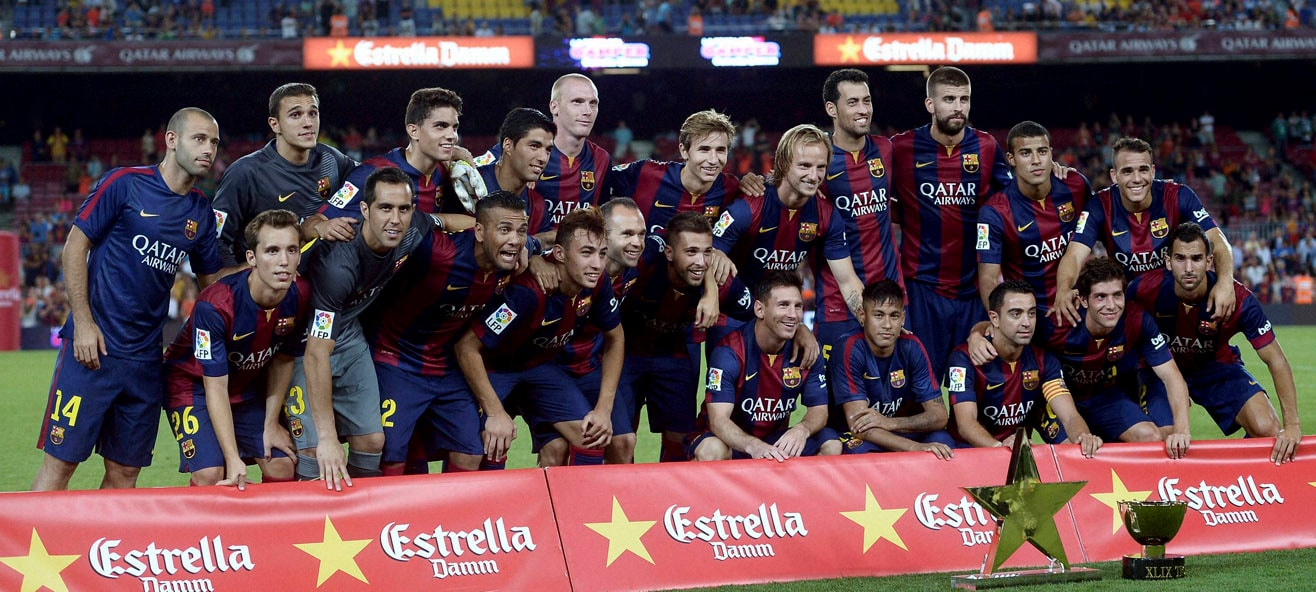 Barcelona players, pose, team photo, Joan Gamper trophy,  defeating, Leon, Joan Gamper trophy, friendly soccer match, Camp Nou