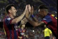 Barcelona's Lionel Messi  from Argentina celebrates scoring the opening goal with Barcelona's Neymar