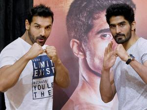 John Abraham and boxer Vijender Singh during a promotional event