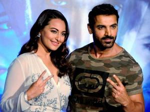 John Abraham and Sonakshi Sinha at the trailer launch of film Force 2