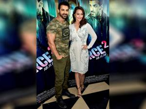 John Abraham and Sonakshi Sinha during the trailer launch of film Force 2