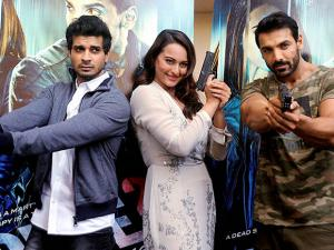 Tahir Raj Bhasin, John Abraham and Sonakshi Sinha during the trailer launch of film Force 2