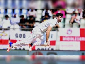 England pacer James Anderson in action