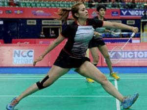 Jwala Gutta, front and Ashwini Ponnappa, during the women's Doubles_event of Badminton Asia Team Championships _