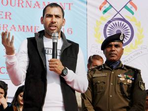 Captain of Indian Kabaddi Team, Anup Kumar Yadav during the finals of CRPF Inter School Volleyball Tournament