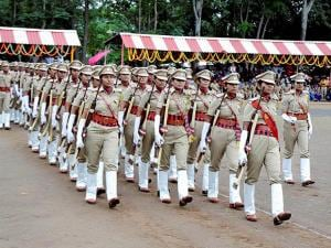 Women sub-inspectors carry out a march during the passing out parade of the 114th batch