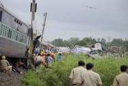 Rescue work in progress at the site where Kamayani Express and Janata express trains