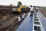 Rescue works in progress at the site where the Kamayani Express and  Janata Express derailed
