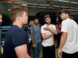 New Zealand cricketers busy in shopping at a garments shop in Kolkata
