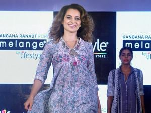Kanagna Ranaut walking the ramp during the launch of summer collection in Mumbai