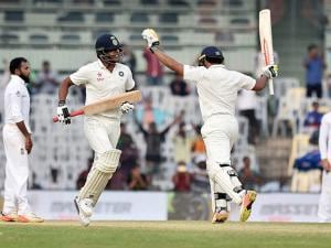 Karun Nair celebrates after scoring 300 runs during the fourth day of the fifth cricket test match