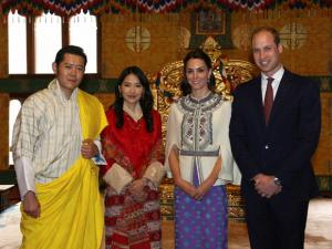 Bhutan's King Jigme Khesar Namgyel Wangchuk, Bhutan's Queen, Jetsun Pema, Kate, Duchess of Cambridge and Britain's Prince William pose for a photograph in Thimphu, Bhutan.