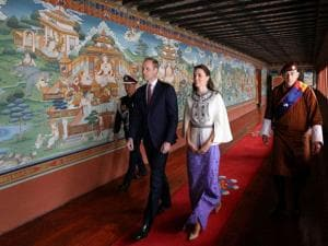 In this photo provided by Royal Kingdom of Bhutan, Britain's Prince William, left, and his wife Kate, Duchess of Cambridge are seen in Thimphu, Bhutan.