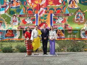 In this photo provided by Royal Kingdom of Bhutan, from left to right, Bhutan's queen, Jetsun Pema, Bhutan's king Jigme Khesar Namgyel Wangchuk, Britain's Prince William, and Kate, Duchess of Cambridge
