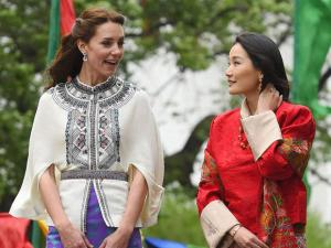 In this photo provided by Royal Kingdom of Bhutan, from left to right, Kate, Duchess of Cambridge, Bhutan's queen, Jetsun Pema, Britain's Prince William and Bhutan's king Jigme Khesar Namgyel Wang.