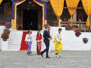 In this photo provided by Royal Kingdom_of Bhutan, from left to right, Kate, Duchess of Cambridge, Bhutan's queen, Jetsun Pema, Britain's Prince William and Bhutan's king Jigme Khesar Namgyel Wang.
