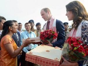 Prince William, Duke of Cambridge and his wife Catherine (Kate), Duchess of Cambridge being presented with traditional crafts of Assam before they departed for Bhutan from Tezpur Airport