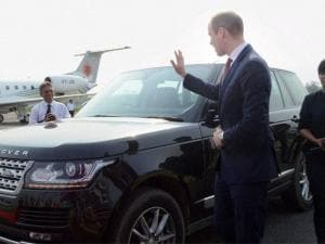 Prince William, Duke of Cambridge bids good-bye to the appointed driver of his car for his Kaziranga Trip on his arrival at Tezpur Airport to depart for Bhutan