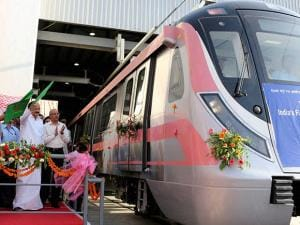 Union Urban Development Minister M Venkaiah Naidu with Delhi Chief Minister Arvind Kejriwal flags off the trial run of India's first Unattended Train Operation (UTO) enabled train from Mukundpur
