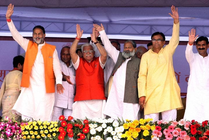Chief Minister, Manohar Lal Khattar, newly, inducted, Ministers, wave, oath, office, Panchkula