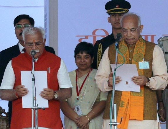 Haryana, Governor, Kaptan Singh Solanki, administers, oath,new Chief Minister, Manohar Lal Khattar, function, Punchkula