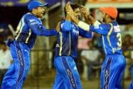 Rajasthan Royals players celebrates a wicket of  DA Miller Ajinkya Rahane
