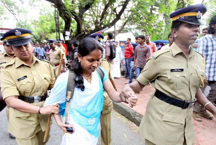 supporter, Kiss of Love, got, arrested, rally, Kochi