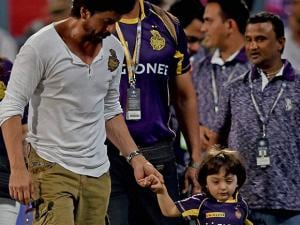 KKR owner Shahrukh Khan with his son at the end of IPL Match at Eden Garden in Kolkata