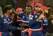 Delhi Daredevils players celebrate the wicket of Manish Panday of  Kolkata Knight Rider