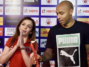 Nita Ambani and World Cup winner and legendary footballer Thierry Henry