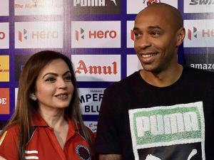 Nita Ambani with legendary French footballer Thierry Henry