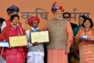 Prime Minister Narendra Modi presenting Krishi Karman Award