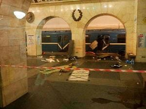 A subway train hit by a explosion stays at the Tekhnologichesky Institut subway station in St.Petersburg