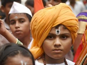 Pilgrims participate in a procession of Lord Vitthal in Mumbai